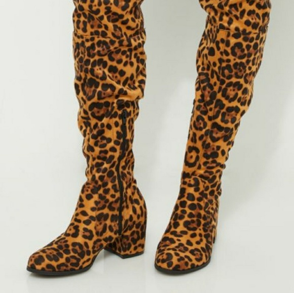 top brands best deals on nice shoes Yoki Shoes | Leopard Over The Knee Boots | Poshmark